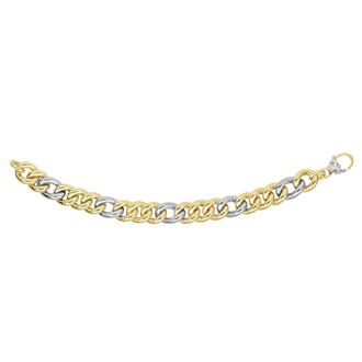 14 Karat Yellow & White Gold 12.2mm 7.50 Inch Figaro Type Bracelet