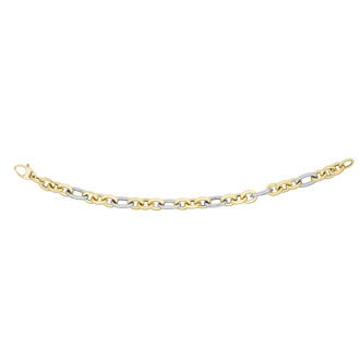 14 Karat Yellow & White Gold 7.5mm 7.25 Inch Oval Link Fancy Bracelet