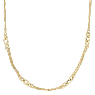 14 Karat Yellow Gold 18 Inch Shiny & Diamond Cut Oval Link Cluster Fancy Necklace