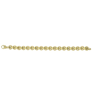 14 Karat Yellow Gold 9.75mm 8 Inch Round Rolo Type Bracelet