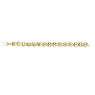 14 Karat Yellow Gold 12.3mm 8.25 Inch Round Rolo Type Bracelet