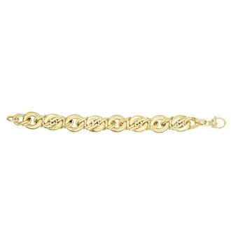 14 Karat Yellow Gold 8 Inch Shiny Bulky Oval Link Bracelet