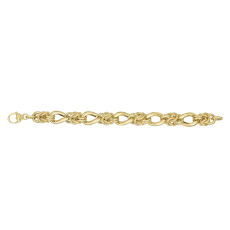 14 Karat Yellow Gold 8 Inch Textured & Shiny Multi Round Link Bracelet