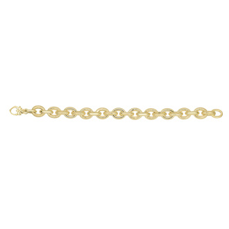 14 Karat Yellow Gold 7.50 Inch Textured & Shiny Oval Link Bracelet