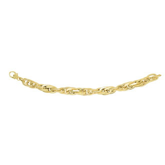 14 Karat Yellow Gold 8.0 Inch Textured & Shiny Multi Oval Link Bracelet