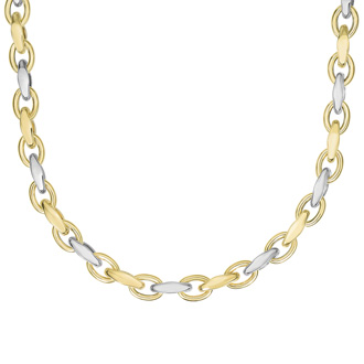 14 Karat Yellow & White Gold 18 Inch Shiny Marquise & Oval Link Necklace