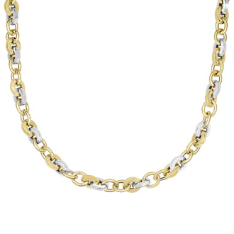 14 Karat Yellow & White Gold 18 Inch Shiny Square & Round Oval Link Necklace