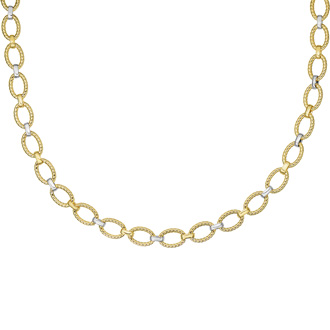 14 Karat Yellow & White Gold 18 Inch Twisted Oval Link Necklace