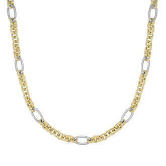 14 Karat Yellow & White Gold 18 Inch Round Oval Link Necklace