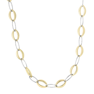 14 Karat Yellow & White Gold 8.80mm 18 Inch Marquise & Oval Link Necklace