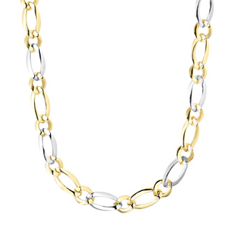 14 Karat Yellow & White Gold 18 Inch Shiny Twisted Oval Link Necklace