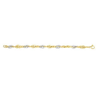 14 Karat Yellow & White Gold 7.50 Inch Fancy Oval Link Bracelet