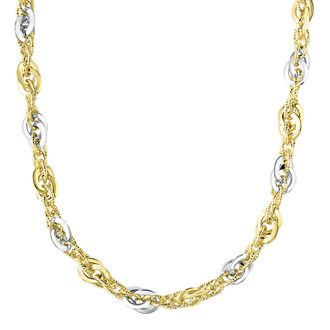 14 Karat Yellow & White Gold 18 Inch Fancy Oval Link Necklace