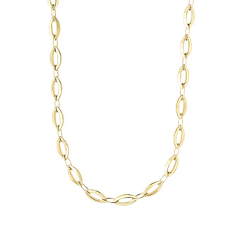 14 Karat Yellow Gold 9.5mm 18 Inch Shiny Marquise Link Necklace