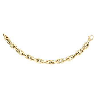 14 Karat Yellow Gold 7mm 7.75 Inch Shiny Double Oval Link Bracelet