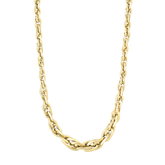 18 Karat Yellow Gold 7mm 18 Inch Shiny Double Oval Link Necklace