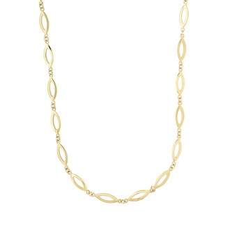 14 Karat Yellow Gold 5.9mm 18 Inch Shiny & Matt Finish Marquise Link Necklace