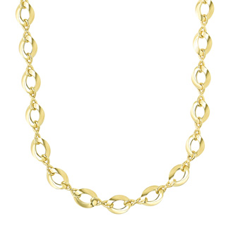 14 Karat Yellow Gold 18 Inch Shiny Twisted Oval & Infinity Link Necklace