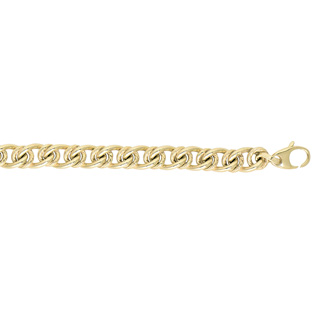14 Karat Yellow Gold 6.0mm 7.50 Inch Textured & Shiny Oval Link Bracelet