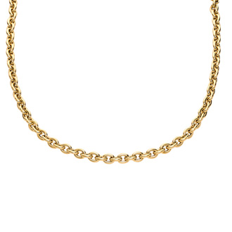 14 Karat Yellow Gold 18 Inch Single Oval Cable Chain Link Necklace