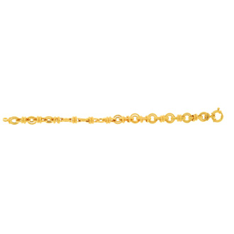 14 Karat Yellow Gold 8.0mm 7.50 Inch Shiny Round & Oval Link Bracelet