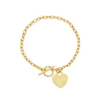 14 Karat Yellow Gold 7.50 Inch Shiny Oval Link Bracelet with Heart