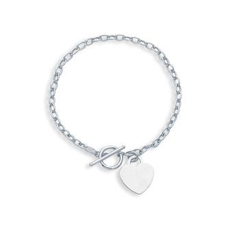 14 Karat White Gold 7.50 Inch Shiny Oval Link Bracelet with Heart