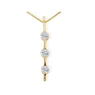 Contemporary 1ct  Channel Set Diamond Pendant in 14k Yellow Gold