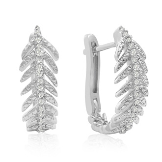 1/4 Carat Diamond Feather Earrings In White Gold Overlay With Latchback
