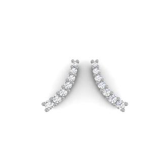 1/5ct Diamond Ear Climbers In 14K White Gold