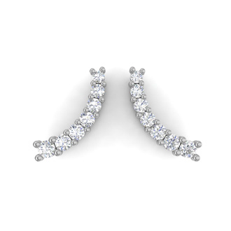 1/2ct Diamond Ear Climbers In 14K White Gold