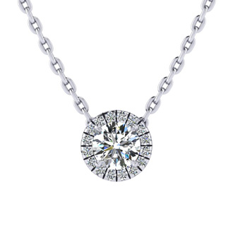 1/2ct Halo Diamond Necklace In 14K White Gold