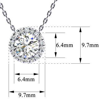 1 1/5ct Halo Diamond Necklace In 14K White Gold