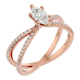 3/4ct Marquise Split Band Engagement Ring Crafted In 14K Rose Gold