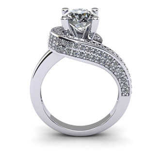 Modern Asymmetrical Round Brilliant 2 Carat Diamond Engagement Ring In 14K White Gold