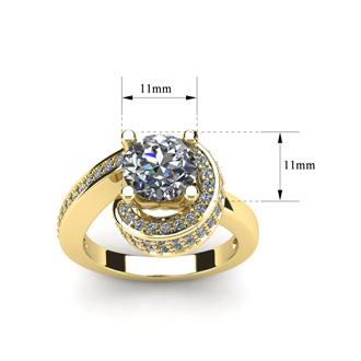 Modern Asymmetrical Round Brilliant 2 Carat Diamond Engagement Ring In 14K Yellow Gold