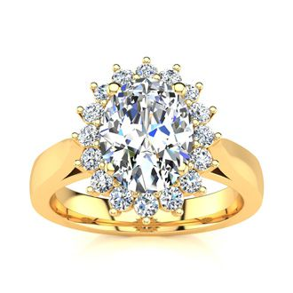 1 1/2ct Oval And Round Diamond Classic Engagement Ring In 14 Karat Yellow Gold