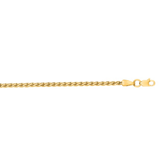 14 Karat Yellow Gold 2.4mm 16 Inch Light Weight Wheat Chain Necklace