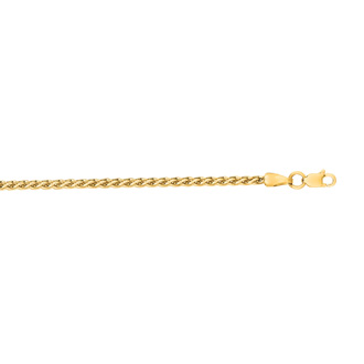 14 Karat Yellow Gold 2.4mm 20 Inch Light Weight Wheat Chain Necklace