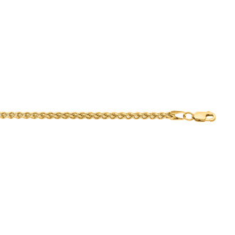 14 Karat Yellow Gold 2.8mm 22 Inch Light Weight Wheat Chain Necklace