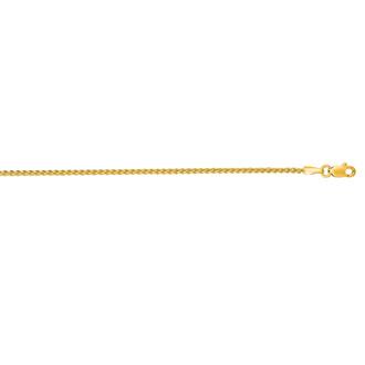 14 Karat Yellow Gold 1.5mm 16 Inch Round Wheat Chain Necklace
