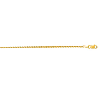 14 Karat Yellow Gold 1.5mm 18 Inch Round Wheat Chain Necklace
