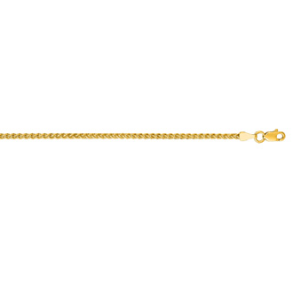 14 Karat Yellow Gold 2.1mm 22 Inch Round Wheat Chain Necklace