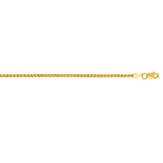 14 Karat Yellow Gold 2.1mm 24 Inch Round Wheat Chain Necklace