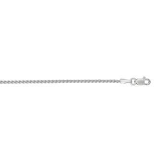 14 Karat White Gold 1.5mm 16 Inch Round Wheat Chain Necklace