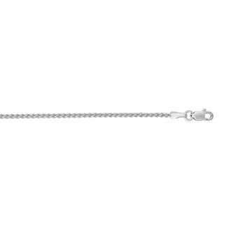 14 Karat White Gold 1.5mm 16 Inch Round Wheat Chain Necklace