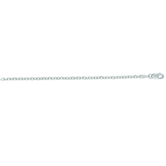 14 Karat White Gold 2.30mm 18 Inch Cable Link Chain Necklace