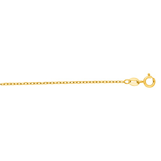 14 Karat Yellow Gold 1.30mm 18 Inch Faceted Cable Link Chain Necklace