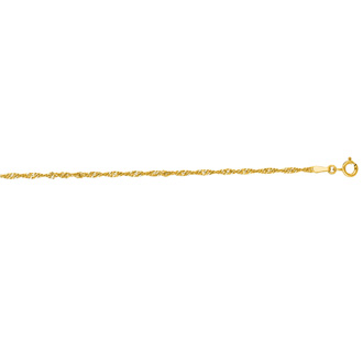 14 Karat Yellow Gold 1.7mm 20 Inch Singapore Chain Necklace