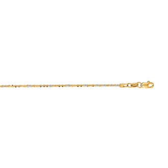 14 Karat Yellow Gold 1.5mm 18 Inch Sparkle Chain Necklace